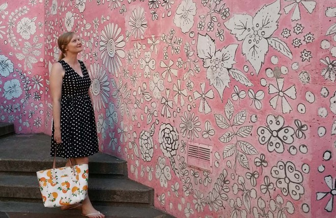 cropped pink wall